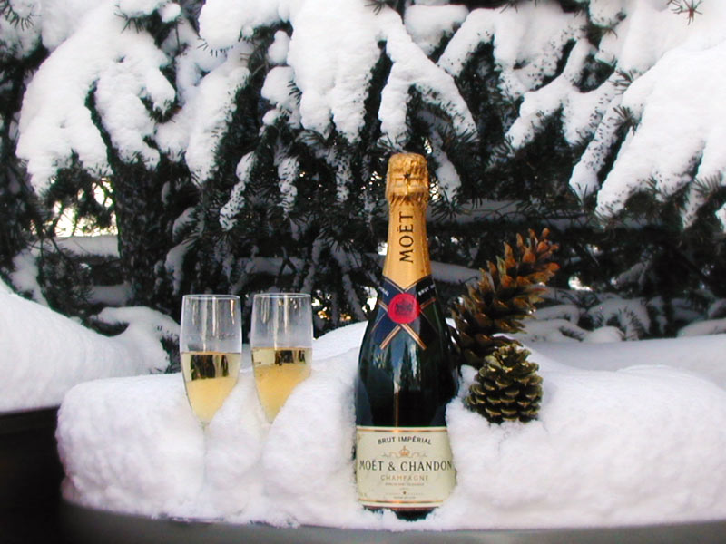 Champagne in the snow
